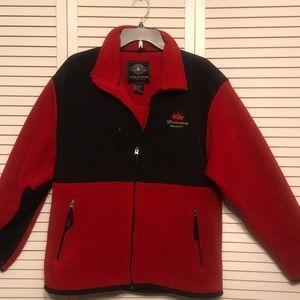 Budweiser Red Black Polar Fleece Jacket Size L
